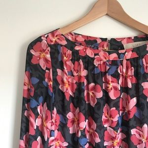 Loft Hibiscus Shirred Blouse